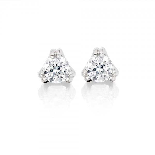 Diamond Stud Earrings 0.10ct 3 Claw 9K White Gold-G/HSI