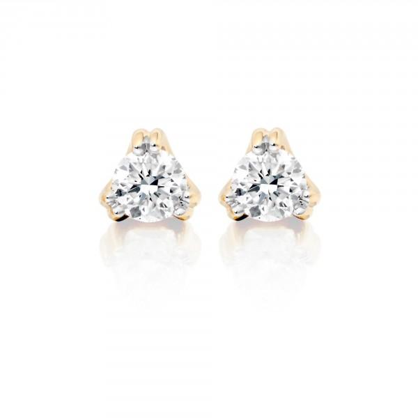 Diamond Stud Earrings 0.10ct 3 Claw 9K Yellow Gold-G/HSI