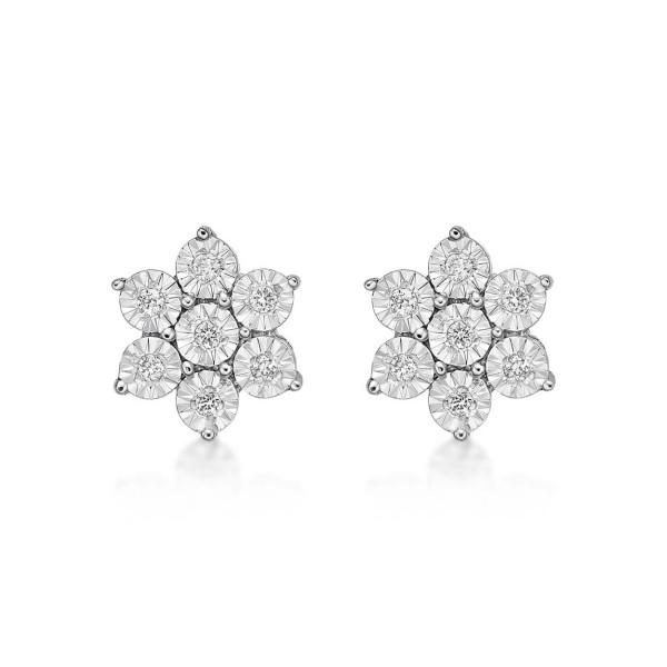 Sparkle Diamond Cluster Earrings 0.14ct Diamond Studs 9K  White Gold