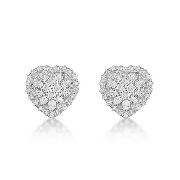 Sparkle Diamond Heart Earrings 0.28ct Diamond Studs in 9K White Gold
