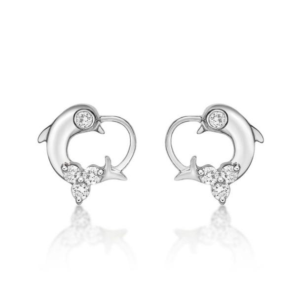 Dolphin Diamond Cluster Earrings 0.23ct Diamond Studs 9K White Gold