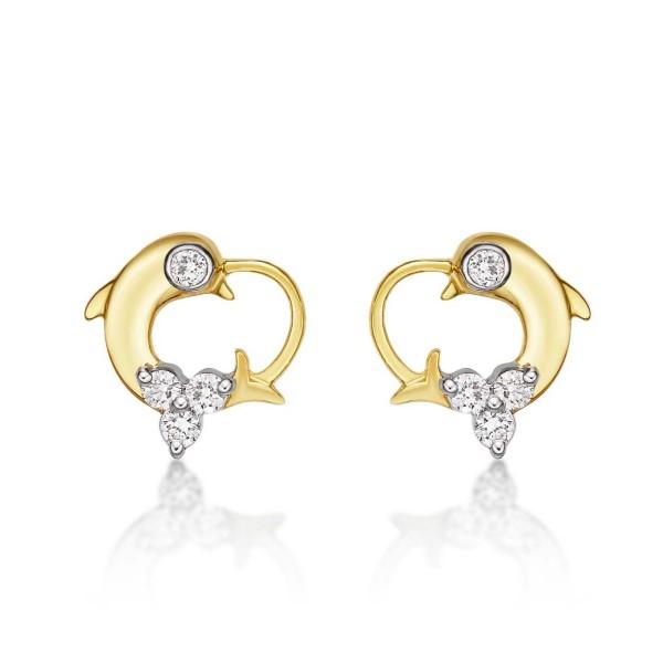 Dolphin Diamond Cluster Earrings 0.23ct Diamond Studs 9K Yellow Gold
