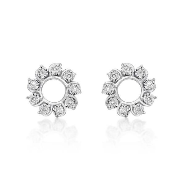 Circle of Life Diamond Circle Earrings 0.13ct Diamonds 9K White Gold