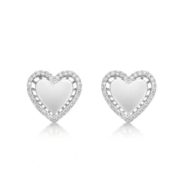 Elevated Diamond Heart Earrings 0.36ct Diamond Studs 9K White Gold