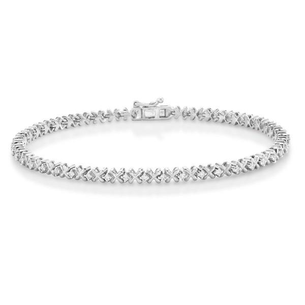 Hugs & Kisses Design Diamond Bracelet 0.50ct Diamonds 9K White Gold