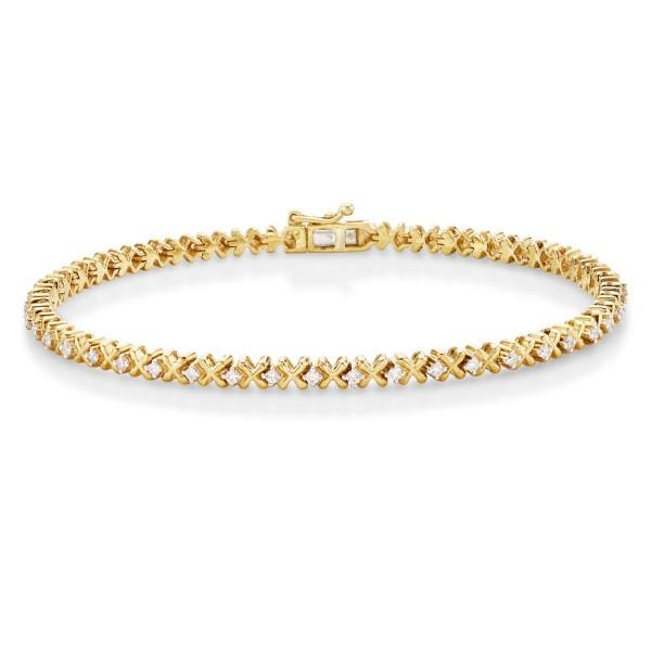 Hugs & Kisses Design Diamond Bracelet 0.50ct Diamonds 9K Yellow Gold