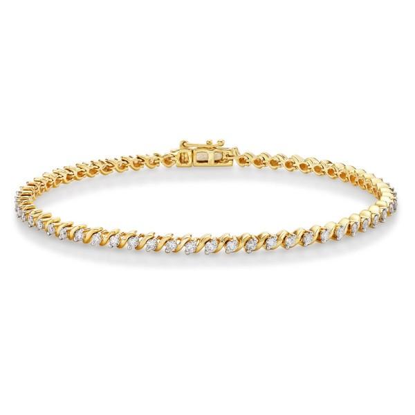 Swirl Diamond Tennis Bracelet 1ct Diamonds in 9K Yellow Gold