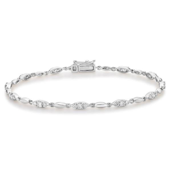 Trilogy Diamond Bracelet 1ct Diamonds in 9K White Gold