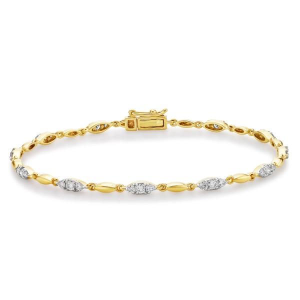 Trilogy Diamond Bracelet 1ct Diamonds in 9K Yellow Gold