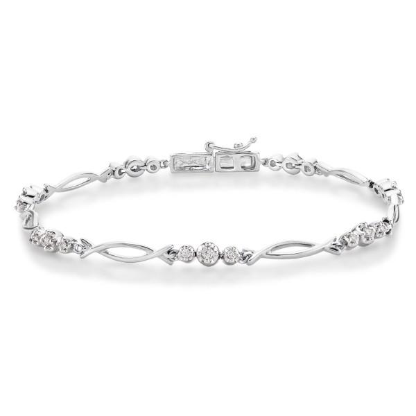 Infinity Diamond Bracelet 0.30ct Diamonds in 9K White Gold