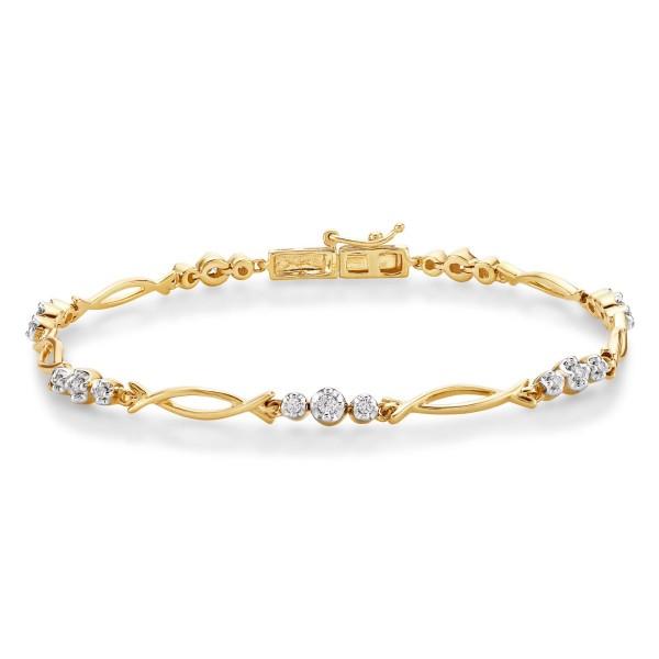 Infinity Diamond Bracelet 0.30ct Diamonds in 9K Yellow Gold