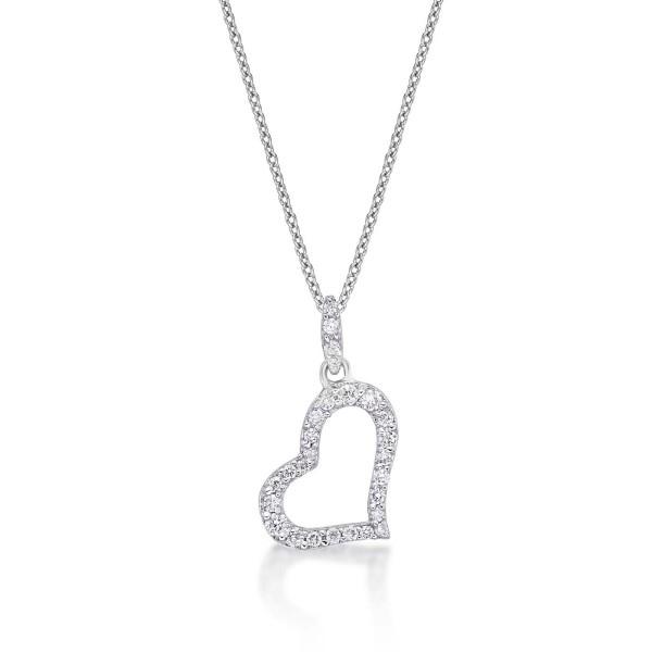 Sleeping Heart Diamond Heart Necklace 0.14ct Diamond 9K White Gold
