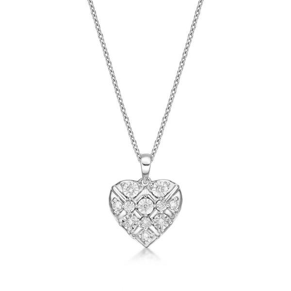 Dazzle Diamond Heart Pendant Necklace 0.16ct Diamond 9K White Gold