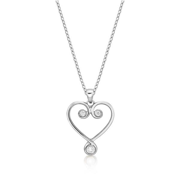Ornate Diamond Heart Pendant Necklace 0.11ct Diamond 9K White Gold