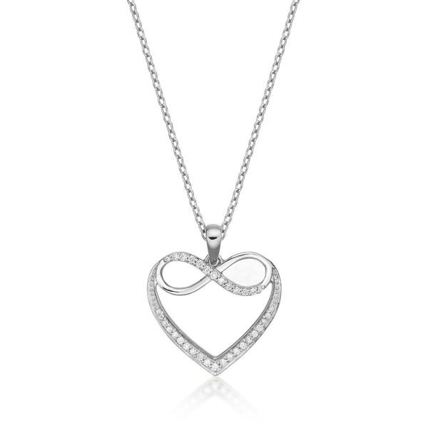 Infinity Diamond Heart Pendant Necklace 0.15ct Diamond 9K White Gold