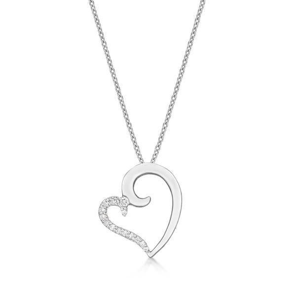 Kiss Diamond Heart Pendant Necklace 0.11ct Diamond 9K White Gold
