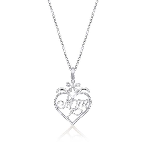 Mum Pendant Necklace 0.07ct Diamond Heart Necklace 9K White Gold