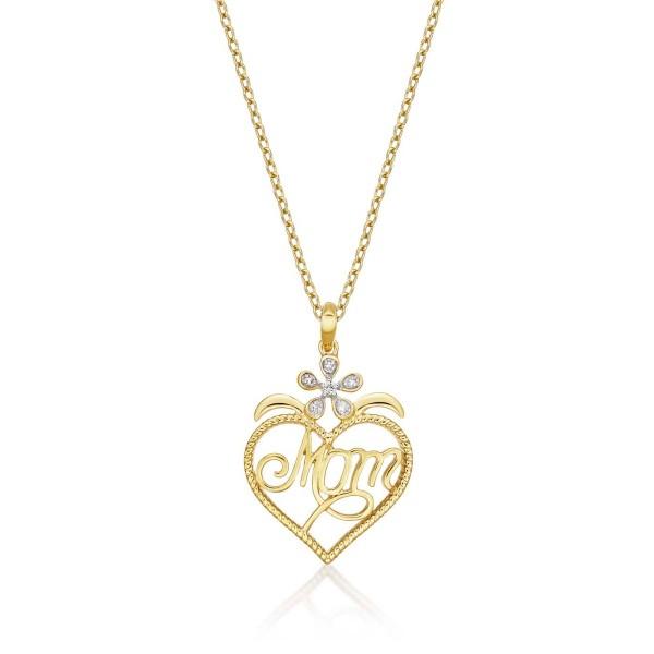 Mum Pendant Necklace 0.07ct Diamond Heart Necklace 9K Yellow Gold