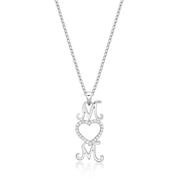 Mum Pendant Necklace 0.12ct Diamond Heart Necklace 9K White Gold