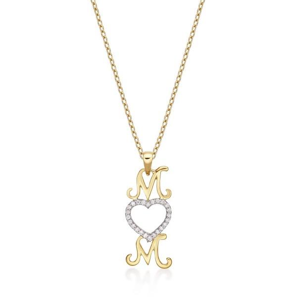 Mum Pendant Necklace 0.12ct Diamond Heart Necklace 9K Yellow Gold