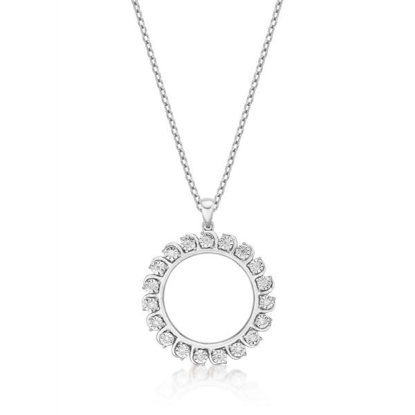 Circle of Life Diamond Pendant Necklace 0.14ct Diamond 9K White Gold