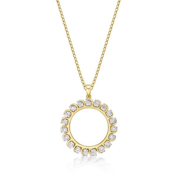 Circle of Life Diamond Pendant Necklace 0.14ct Diamond 9K Yellow Gold
