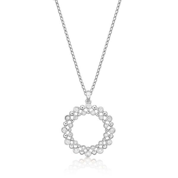 Eternal Circle Diamond Pendant Necklace 0.22ct Diamond 9K White Gold