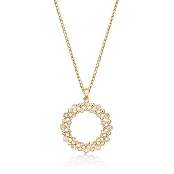 Eternal Circle Diamond Pendant Necklace 0.22ct Diamond 9K Yellow Gold