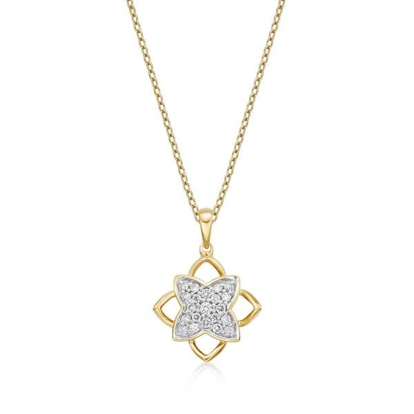 Clover Diamond Cluster Pendant Necklace 0.25ct Diamond 9K Yellow Gold