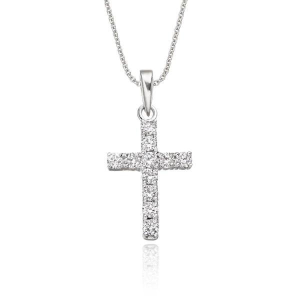 Miracle Diamond Cross Pendant 0.32ct Diamonds In 18K White Gold