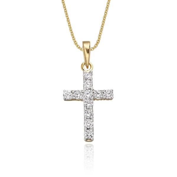 Miracle Diamond Cross Pendant 0.32ct In 9K Yellow Gold