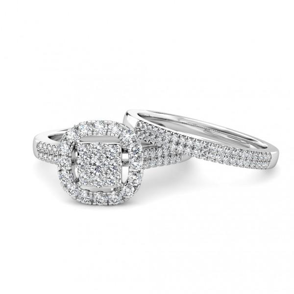 Cushion Diamond Cluster Engagement Ring 0.40ct Diamonds in 18K White Gold