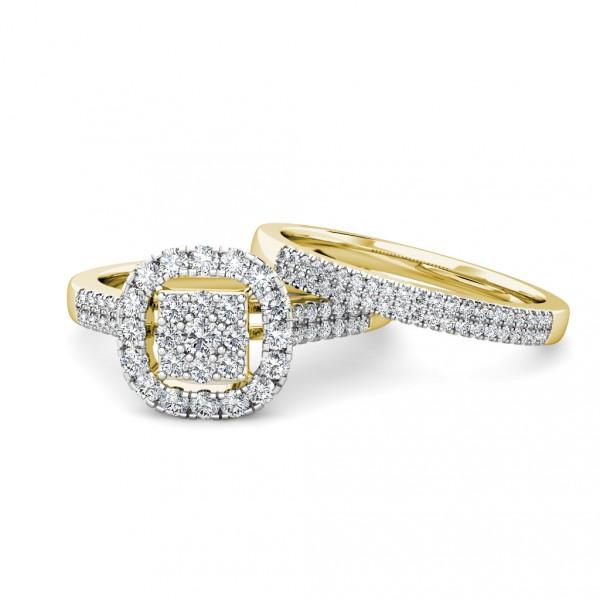 Cushion Diamond Cluster Engagement Ring 0.40ct Diamonds in 18K Yellow Gold