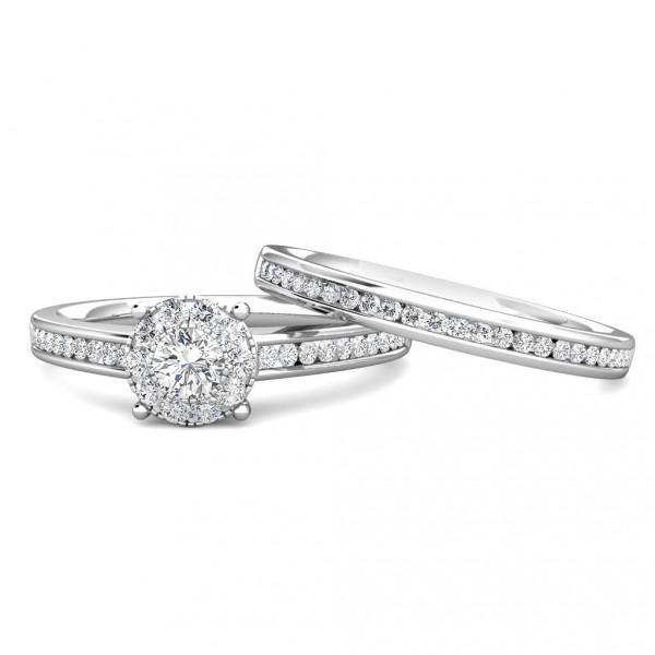 Elegance Diamond Cluster Engagement Ring 0.30ct Diamonds in 18K White Gold