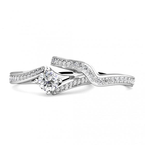 Twist Diamond Cluster Engagement Ring 0.40ct Diamonds in 18K White Gold