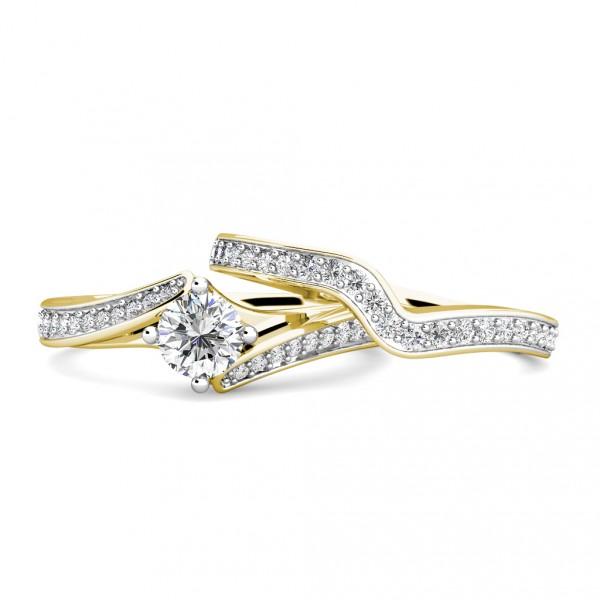 Twist Diamond Cluster Engagement Ring 0.40ct Diamonds in 18K Yellow Gold