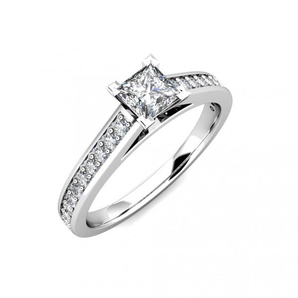Square Princess Diamond Engagement Ring 0.45ct Diamonds 18K White Gold