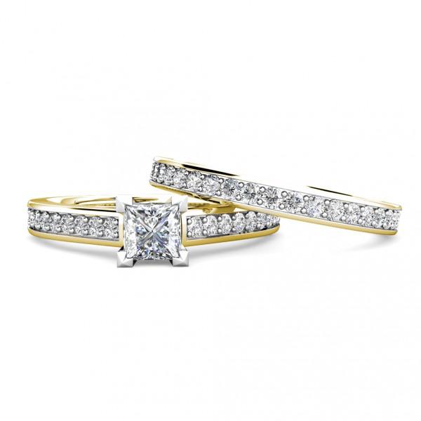 Square Princess Diamond Engagement Ring 0.45ct Diamonds 18K Yellow Gold