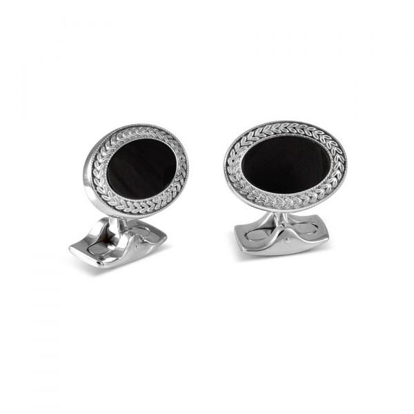 Deakin & Francis Designer Black Onyx Oval Cufflinks