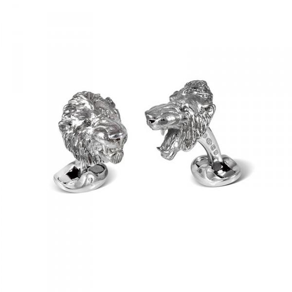 Deakin & Francis Designer Sterling Silver Lion Head Cufflinks