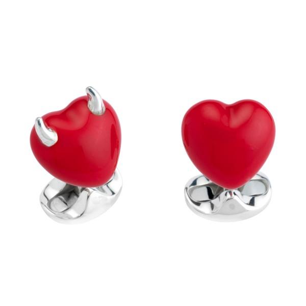 Deakin & Francis Sterling Silver Naughty & Nice Heart Cufflinks