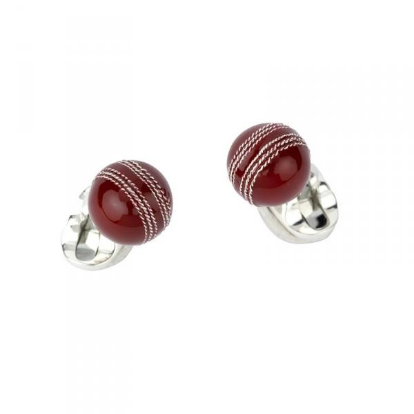 Deakin & Francis Sterling Silver Cricket Ball Cufflinks With Enamel