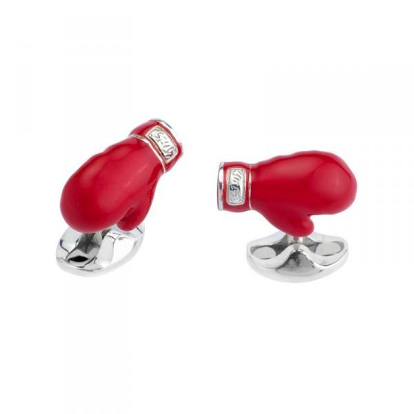 Deakin & Francis Sterling Silver Boxing Glove Cufflinks With Enamel