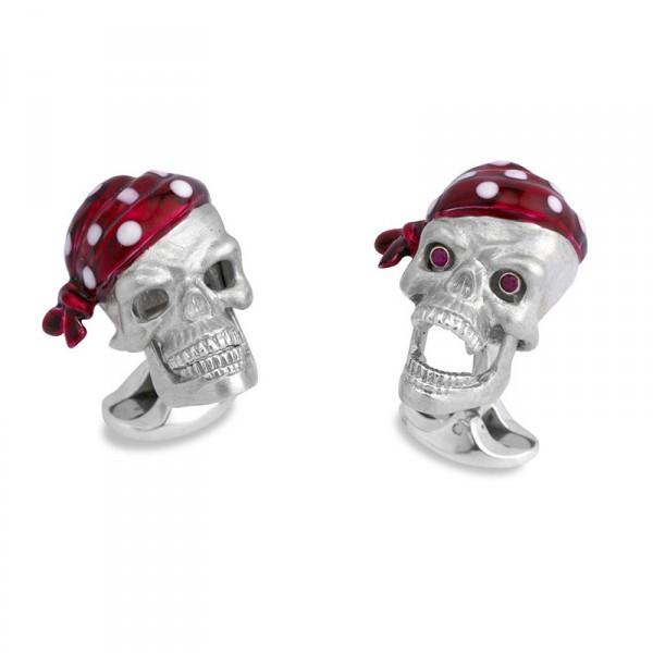 Deakin & Francis Skull Cufflinks In Sterling Silver With Ruby Eyes