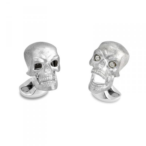 Deakin & Francis Sterling Silver Skull Cufflinks With Diamond Eyes