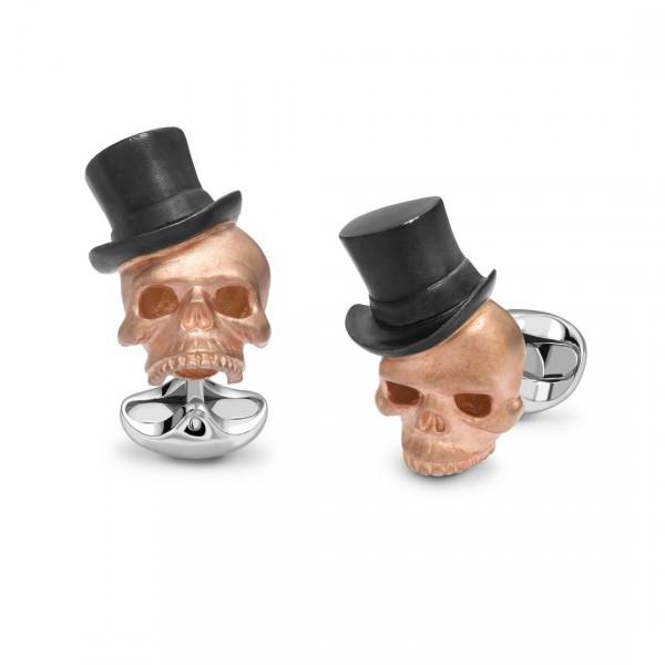 Deakin & Francis Skull Cufflinks With Top Hat in Sterling Silver