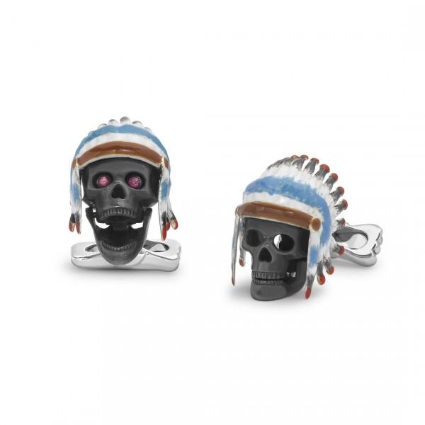 Deakin & Francis Native Indian Skull Cufflinks In Sterling Silver