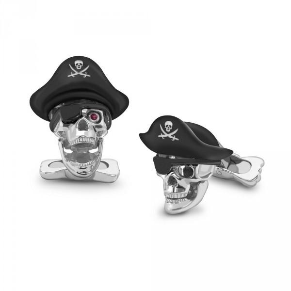 Deakin & Francis Pirate Skull Cufflinks Sterling Silver & Ruby Eyes