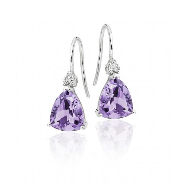 Amethyst & Diamond Drop Earrings 4.60ct Amethyst 9K White Gold