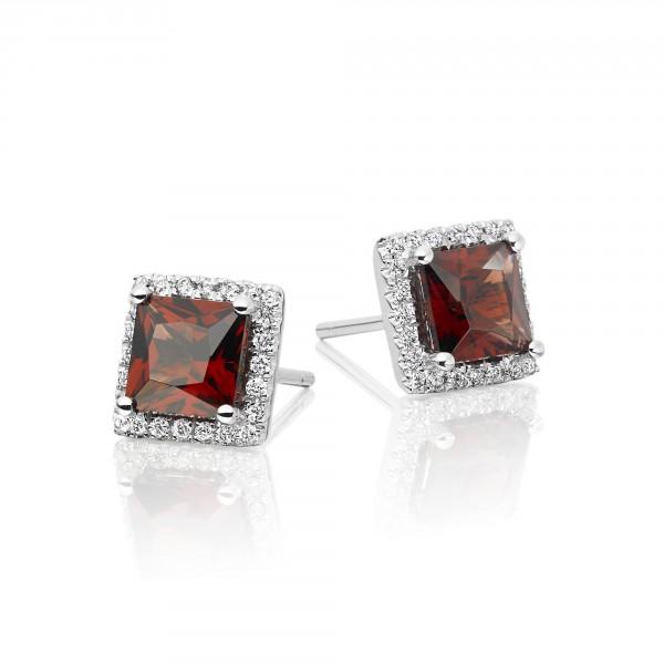 1.80ct Garnet And 0.19ct Diamond Stud Earrings In 18K White Gold